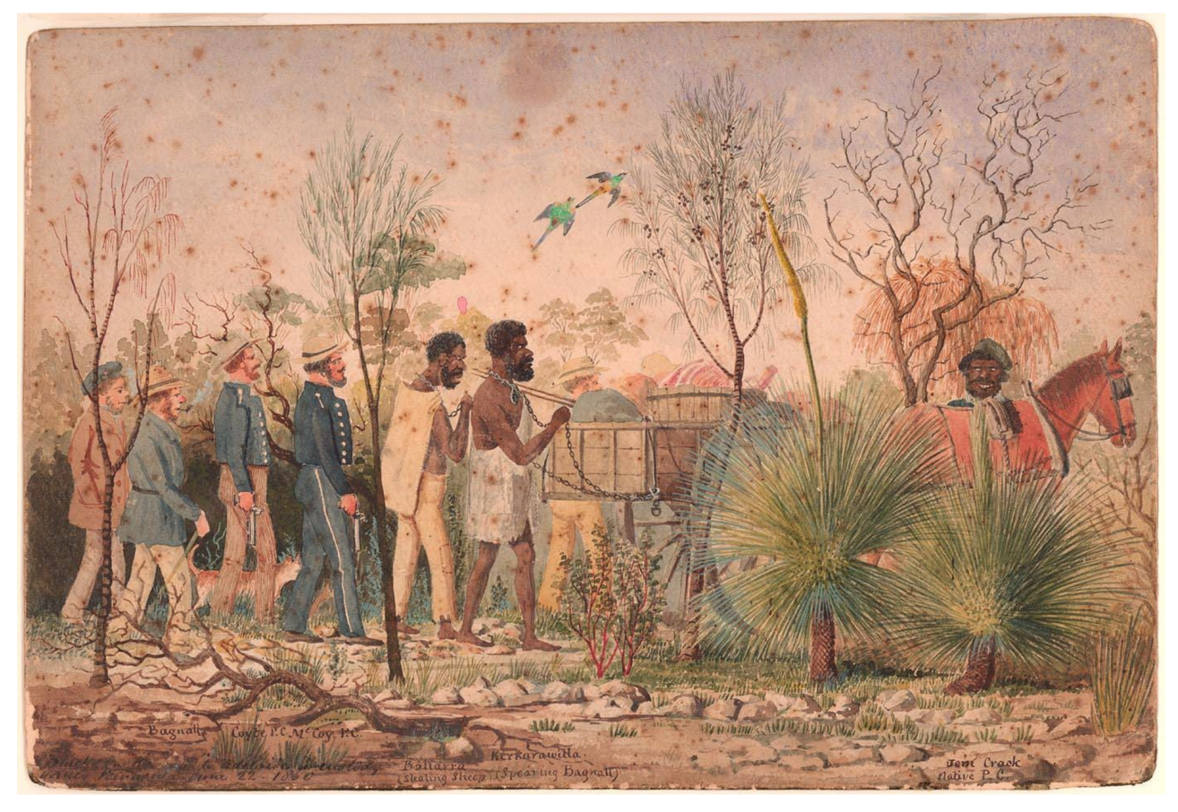 Blacks on the way to Adelaide in custody Yorkes Peninsula June 22 1850 Watercolour by Edward Snell